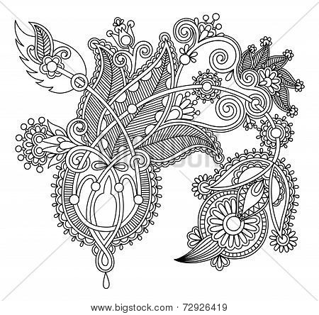 original hand draw line art ornate flower design