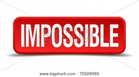 Impossible Red 3D Square Button On White Background
