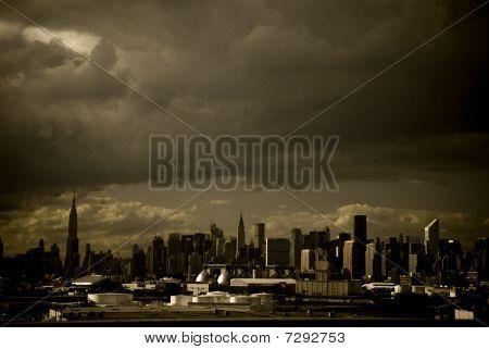 New York City Sky Line With a Stormy Sky