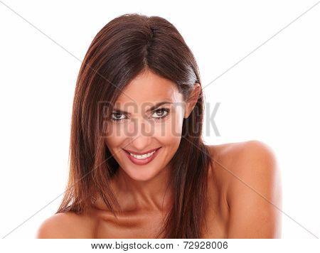 Sexy Hispanic Woman Looking At Camera
