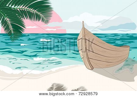 The Boat Is On The Sea Shore At Summer