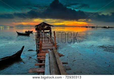 Fisherman wood jetty during sunrise