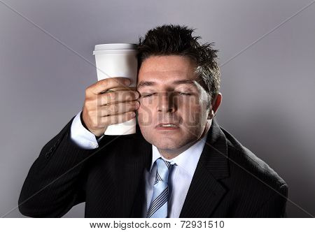 Sleepy Addict Businessman Holding Take Away Coffee In Caffeine Addiction