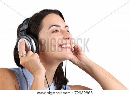 Attractive young woman listen to music