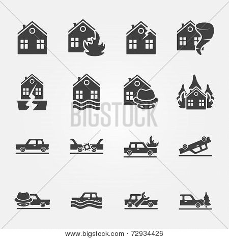 Insurance icons vector set