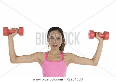 Fitness Woman Holding Weights Isolated On White Background