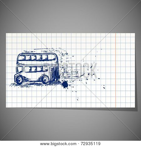 vector illustration of a hand-drawn double-decker bus