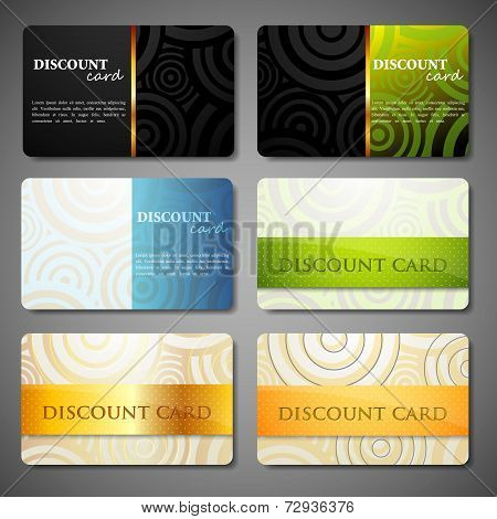vector set of discount cards with circle pattern