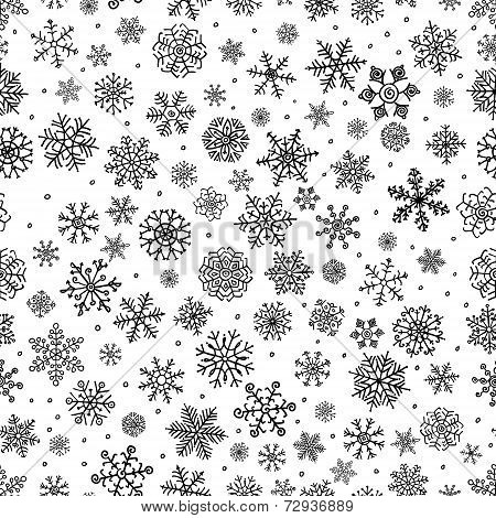 Winter Snow Flakes Doodle Seamless Background