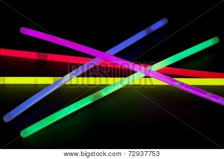 Close-up of multicolor glow sticks