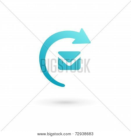 E-mail Envelope Arrow Logo Icon. Vector Color Sign.