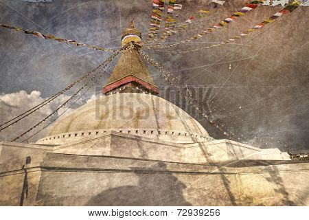 Vintage Postcard Of Boudhanath Stupa With Buddha Wisdom Eyes In Kathmandu, Nepal