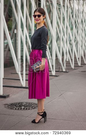 Woman Outside Jil Sander Fashion Shows Building For Milan Women's Fashion Week 2014
