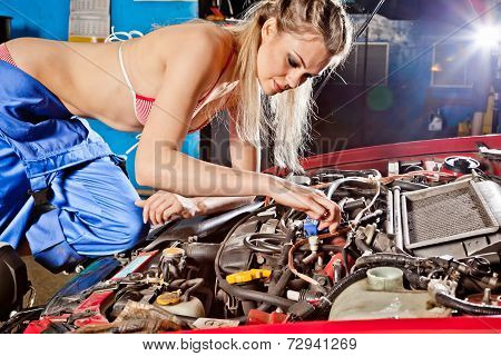 Female Auto Mechanic Repairing A Car