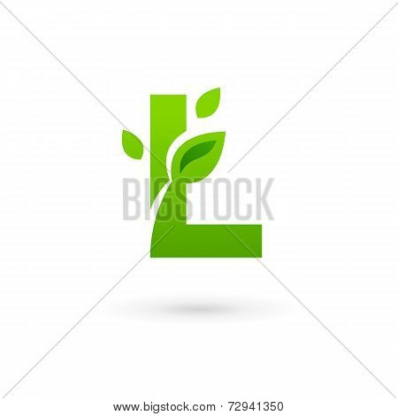 Letter L Eco Leaves Logo Icon