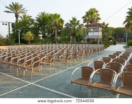 Row Of Chair Seats In Open Air Theater