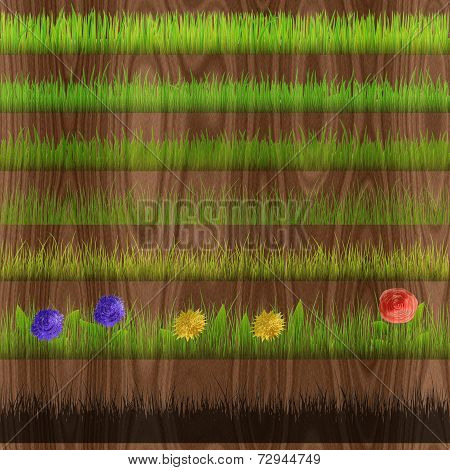 Grass Relief Painting On Generated Wood Texture Background