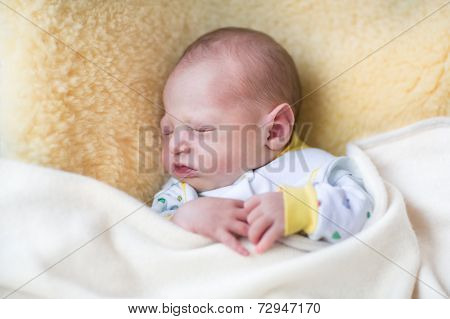 Tiny Newborn Baby Sleeping On A Sheepskin Under A Warm Knitted Blanket