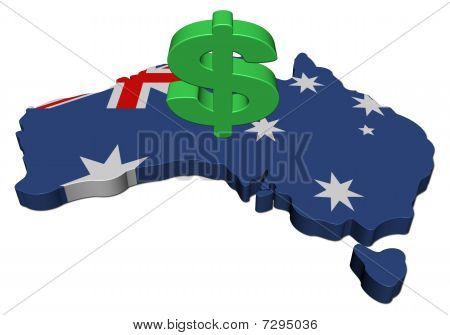 Australia Map Flag With Dollar Symbol