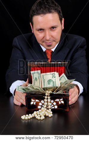 Businessman Is Extending Gift Box