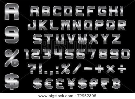 Alphabet, Numbers, Currency And Symbols Pack - Rectangular Beveled Metal Font