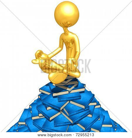 Gold Guy Meditating On A Pile Of Books