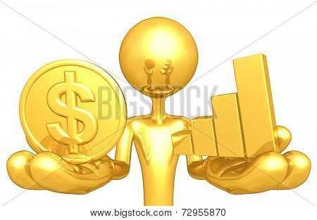 Gold Guy With Gold Coin and Bar Graph