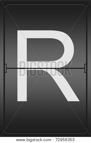 Letter R On A Mechanical Leter Indicator