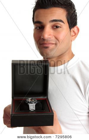 Man Showing A Wristwatch