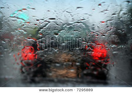 Rain Dripped On Glass