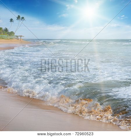 View Of The Sea, Blue Sky And Sun