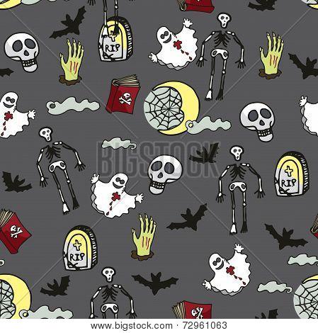 Halloween seamless pattern.Death, cemetery
