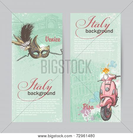 Set of verticall banners of Italy. Cities of Pisa and Venice with a mask and a pink moped