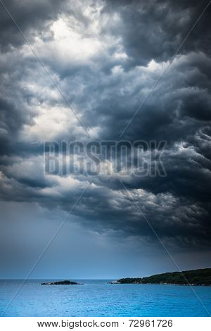Approaching Storm Weather Over The Sea And Small Islands