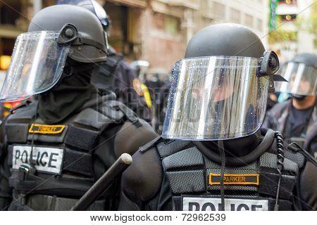 Police In Riot Gear Closeup