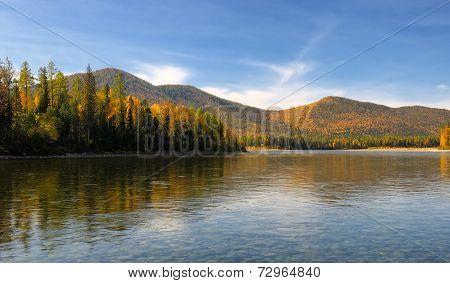 Siberian Mountain River In September