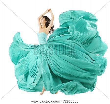 Woman Dancing In Fashion Dress, Fabric Cloth Waving On Wind, Flying Girl In Fluttering Gown And Flow