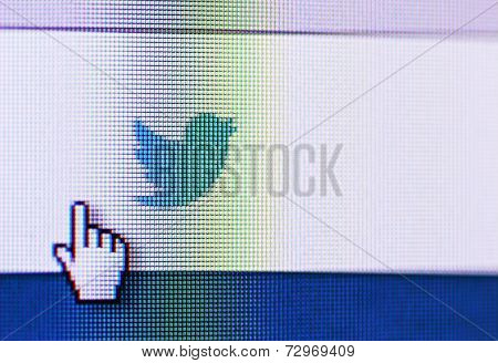 Social Network Twitter Icon On Computer Screen