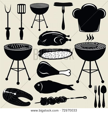 Set icons barbecue grill