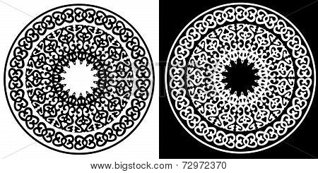 Black and white circular ornament