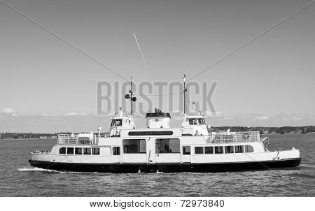 Scenic view of a Sunlines boat in black and white in Helsinki on June 22 2013.