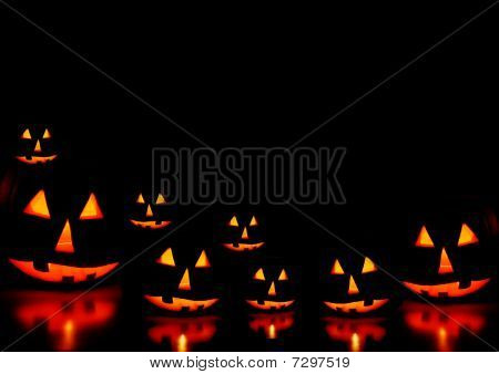 Halloween pumpkins with black background
