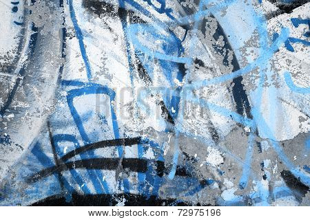 Abstract Blue Graffiti Fragment On Gray Urban Concrete Wall