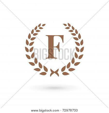 Letter F Laurel Wreath Logo Icon