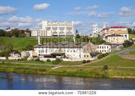 Old Plant And Neman River. Grodno, Belarus