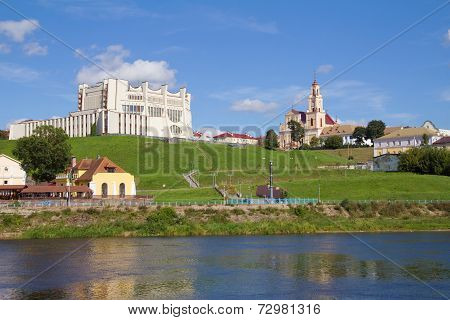 Theater And Neman River. Grodno, Belarus