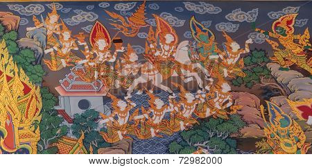 Thai Style Mural Painting :siddhartha Gautama Escape From Castle