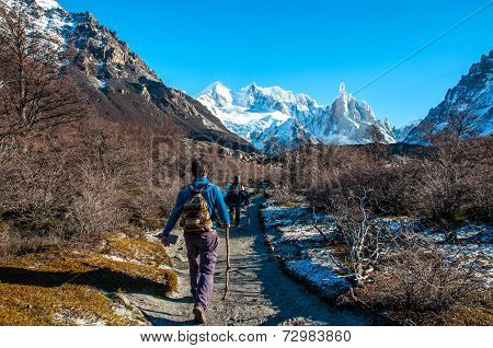 Trekkers In Fitz Roy Trail, South Argentina