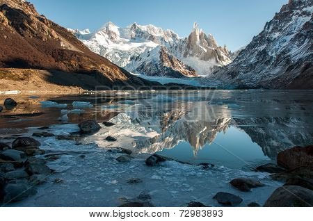 Frozen Lake Reflection At The Cerro Torre, Fitz Roy, Argentina