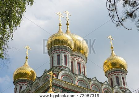 Golden domes of the Shipka Monastery
